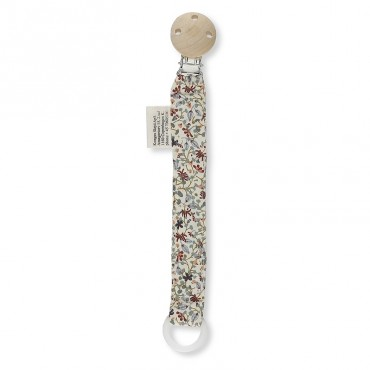 Attache tétine en coton bio - Petites fleurs Louloudi