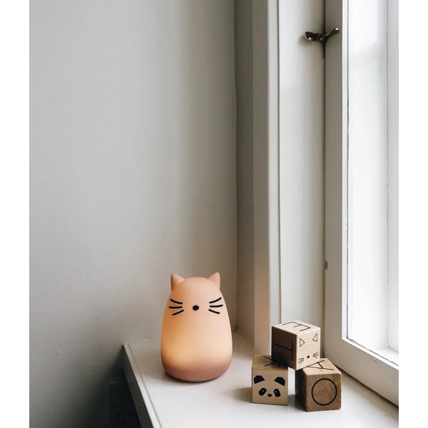 Lampe veilleuse rechargeable Winston - Chat rose