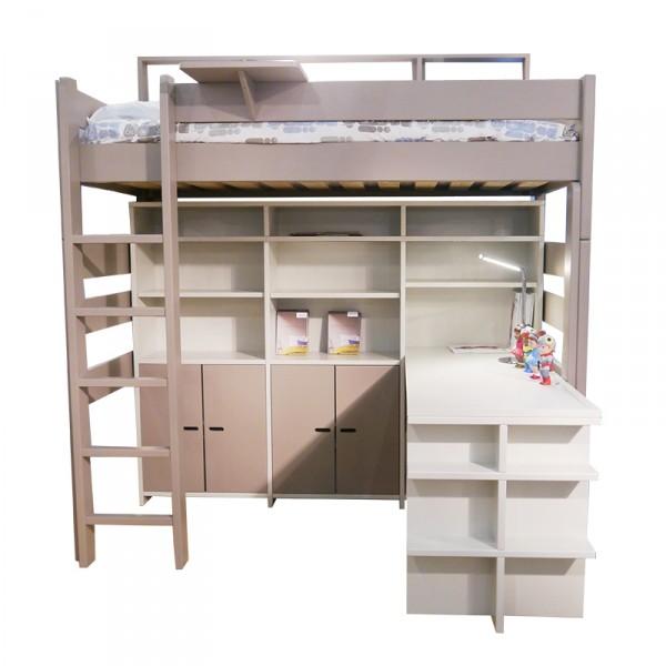 Lit mezzanine H186 cm taupe + Bibliothèque SUR 186 greige + jeu de portes taupe + bureau madaket 140 greige