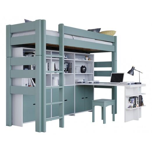 Lit mezzanine H186 cm + Bibliothèque SUR 186 + Jeu de portes + bureau Madaket - Blanc et gris orage