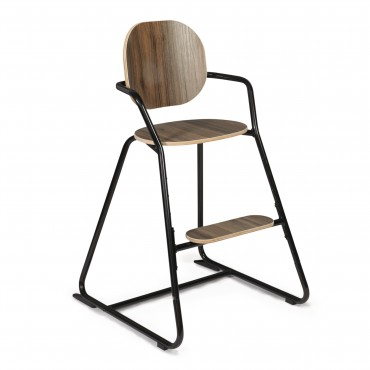 Chaise haute évolutive TIBU - Noir et assise en noyer