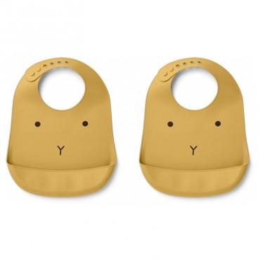Bavoir en silicone x 2 Tilda - Lapin yellow mellow
