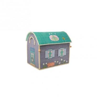 Coffre à jouets en raphia PM - Maison violette