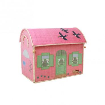 Coffre à jouets en raphia MM - Maison rose