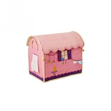 Coffre à jouets en raphia PM - Roulotte rose