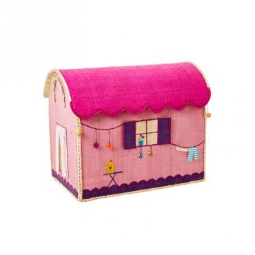 Coffre à jouets en raphia MM - Roulotte rose