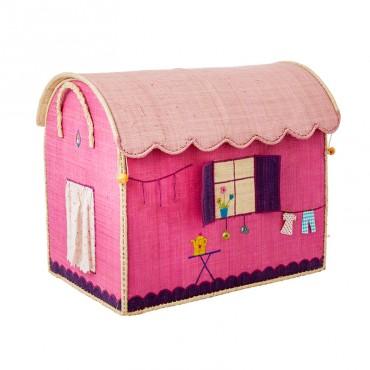 Coffre à jouets en raphia GM - Roulotte rose