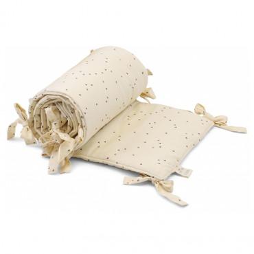 Tour de lit en coton bio - Mille marine off white