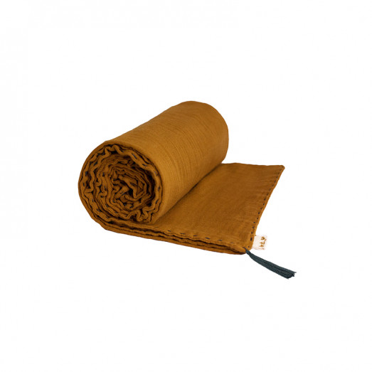 Couverture d'été coton bio 80 x 110 cm - Moutarde