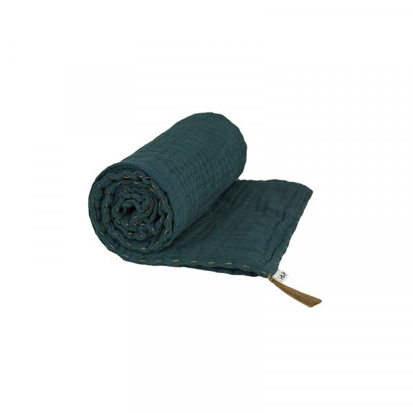 Couverture d'été coton bio 80 x 110 cm - Bleu canard