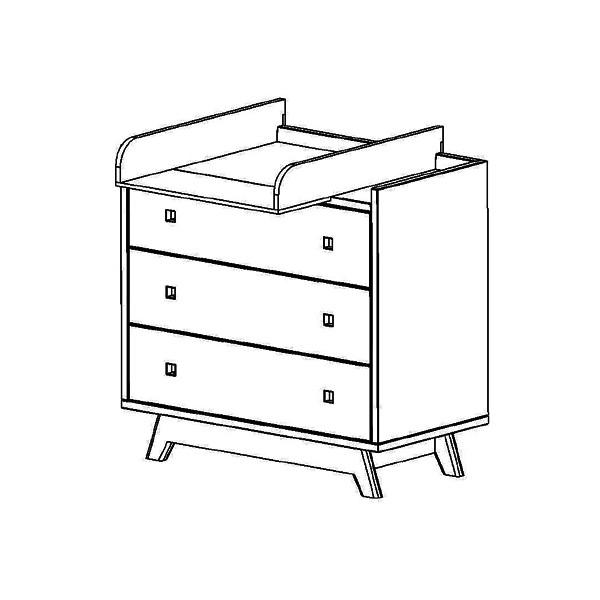 Commode 3 tiroirs et plan à langer pieds bouleau coloris marsala