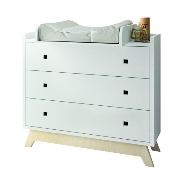 Commode 3 tiroirs et plan à langer pieds bouleau coloris blanc