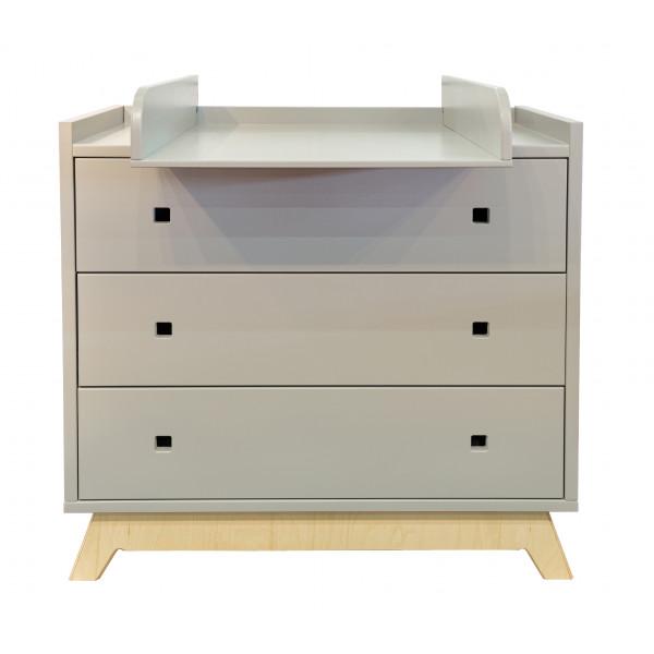 Commode 3 tiroirs et plan à langer pieds bouleau coloris gris perle