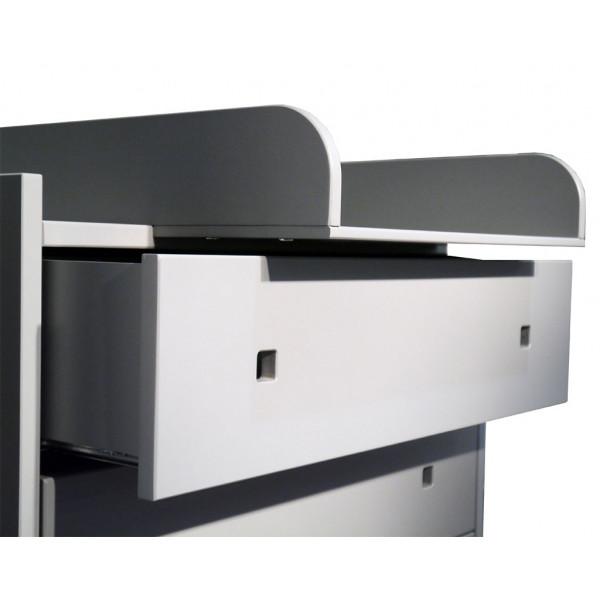 Plan à langer commode Madavin tiroir gris ciment