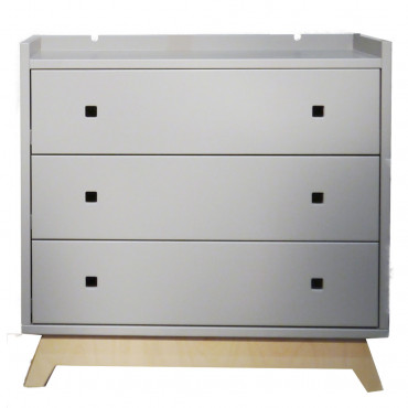 Commode 3 tiroirs - Madavin - Gris ciment