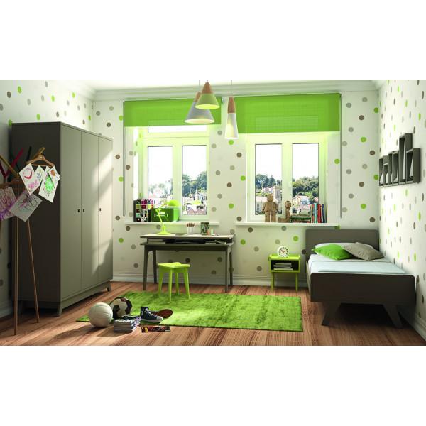 Chambre MADAVIN armoire 3 portes + bureau + lit 90x190 coloris lin + chevet coloris vert pomme