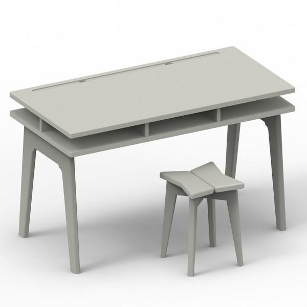 Bureau et tabouret Madavin_gris ciment