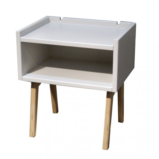 Table de chevet Madavin - pieds bouleau - gris perle