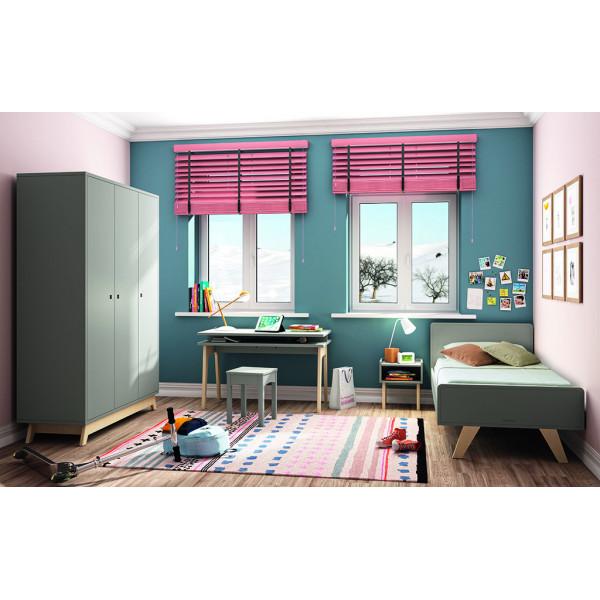 Chambre MADAVIN lit + armoire 3 portes + bureau pieds bouleau + tabouret + chevet_coloris gris ciment