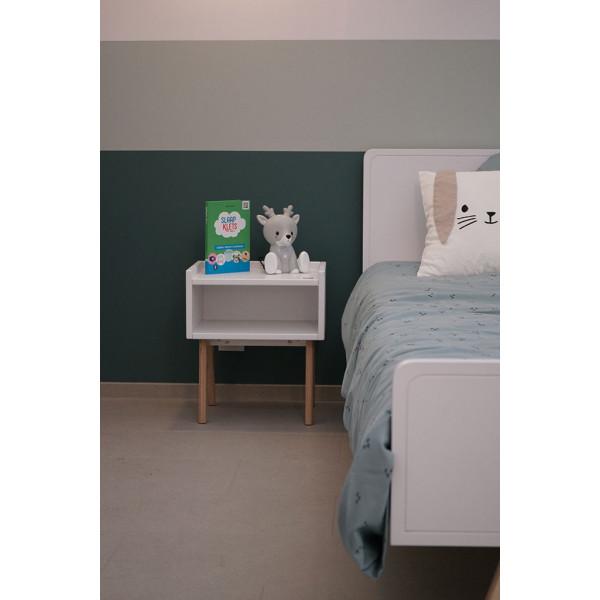 Chambre MADAVIN LIT et CHEVET pieds bouleau_blanc