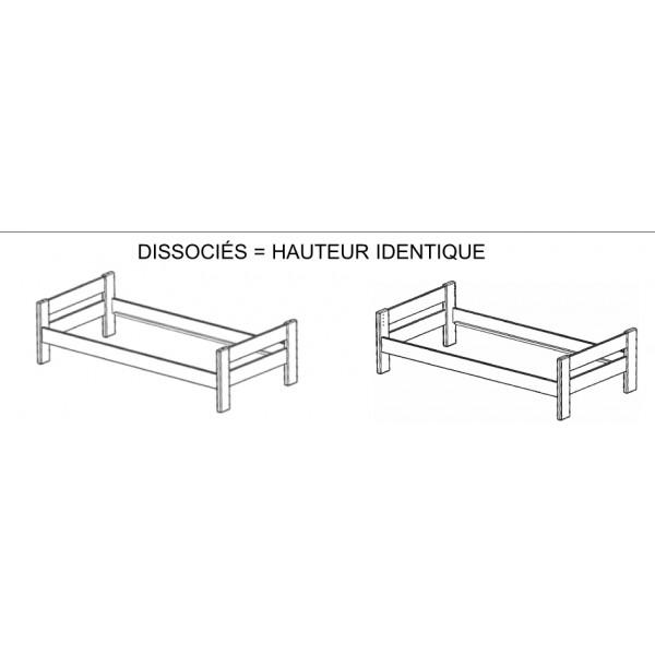 Lit superposé Dominique Hauteur 166 cm dissociable & Bureau surélevé & Etagère surélevé