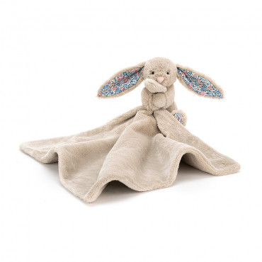 Doudou lapin liberty - Bashful blossom soother taupe