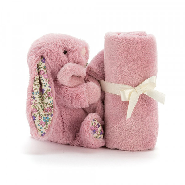 Doudou lapin liberty - Bashful blossom soother rose tulip