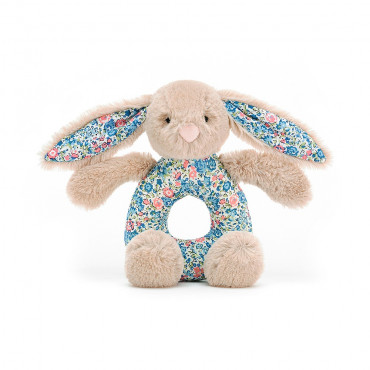 Hochet d'éveil lapin - Bashful grabber Blossom fleurs bleues - taupe